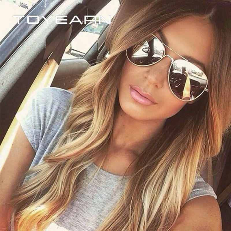 TOYEARN Vintage Classic Brand Designer Men's Pilot Sunglasses Women Men Driving UV400 Mirror Sun Glasses Female Oculos de sol